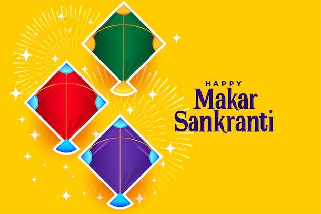 Happy makar sankranti con tre disegni di aquiloni