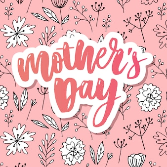 Happy mothers day elegante tipografia rosa banner.