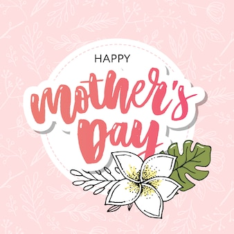 Happy mothers day elegante tipografia rosa banner