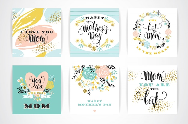 Happy mothers day lettering auguri con fiori