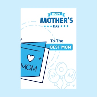 Happy mothers day lettering sfondo blu