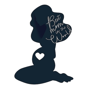 Happy mothers day pregnant lady silhouette