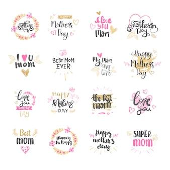 Happy mothers day set di logo isolato per la festa di auguri design