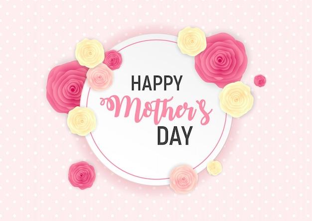 Happy mothers day sfondo carino con fiori.