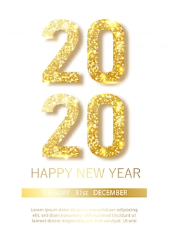 Happy new 2020 year.vector illustrazione di numeri metallici dorati 2020
