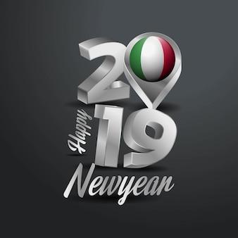 Happy new year 2019 gray typography