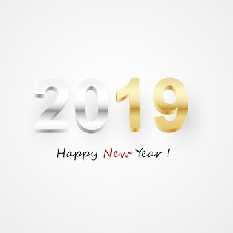 Happy new year 2019 numeri dorati 3d