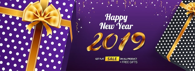 Happy new year 2019 sale banner advertisingtemplate