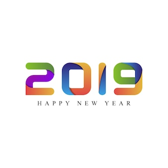 Happy new year 2019 tipografia