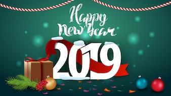 Happy New Year 2019 - verde biglietto di auguri di Capodanno con doni