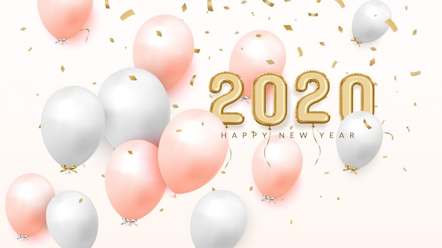 Happy new year 2020 celebrate banner, palloncini in lamina d'oro con numeri e coriandoli