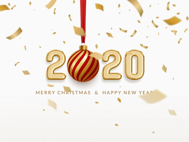 Happy new year 2020 celebrate, palloncini in lamina d'oro con pallina di natale e coriandoli