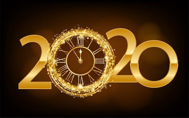 Happy new year 2020 - new year sfondo splendente con orologio d'oro e glitter