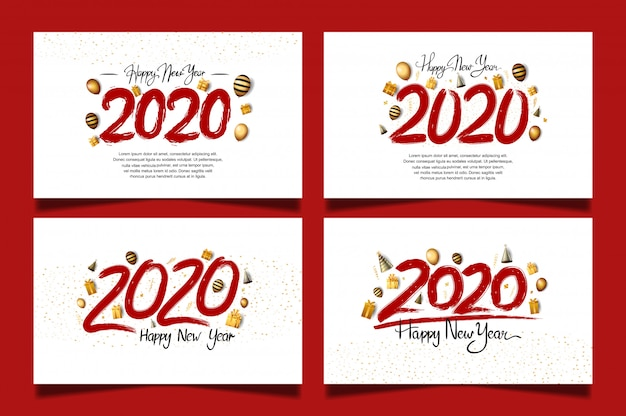 Happy new year 2020 set con numero di colore rosso