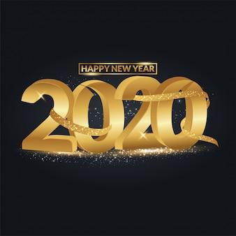 Happy new year 2020 testo 3d con schizzi di coriandoli glitter oro