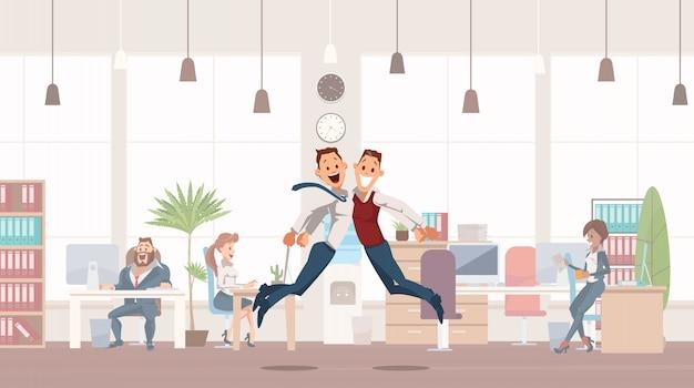Happy office workers saltando su