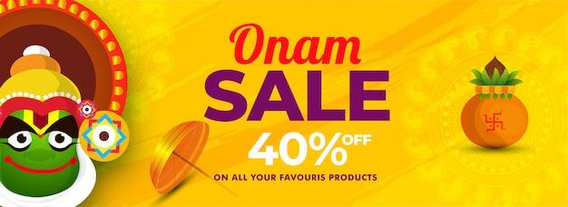 Happy onam vendita banner o poster design.