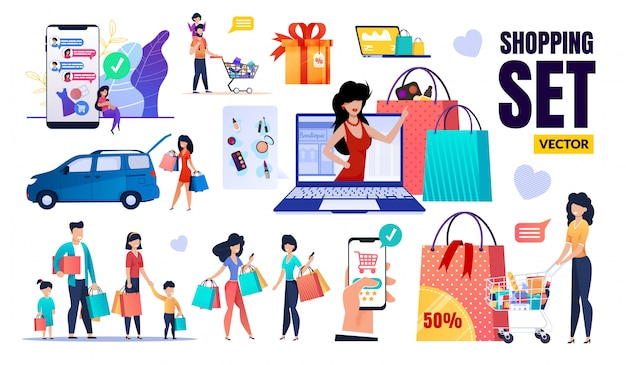 Happy people, sales, discount, shopping set