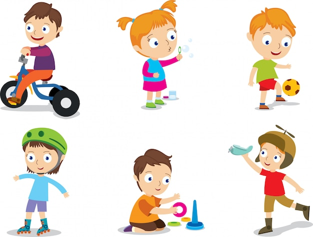 Happy playing kids vector