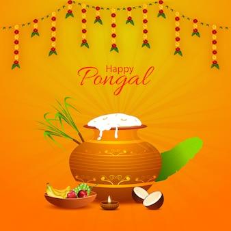 Happy pongal auguri design con vaso di fango pieno di riso pongali
