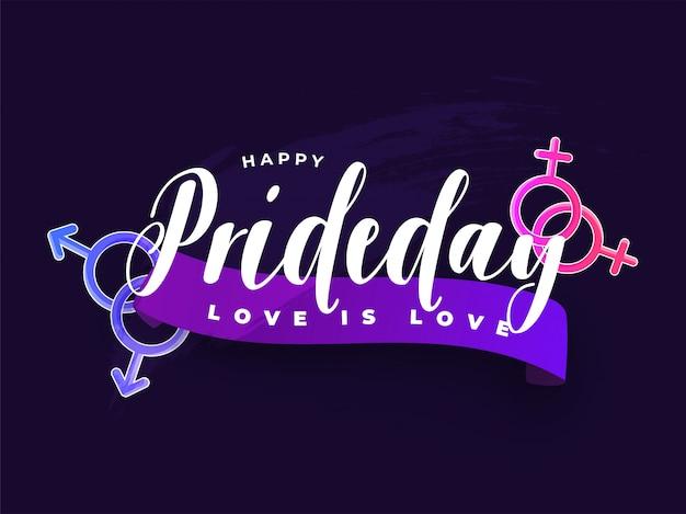 Happy pride day concept per la comunità lgbtq con segno di coppie gay e lesbiche.
