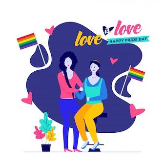 Happy pride day, love is love concept con coppia lesbica con bandiere di libertà.