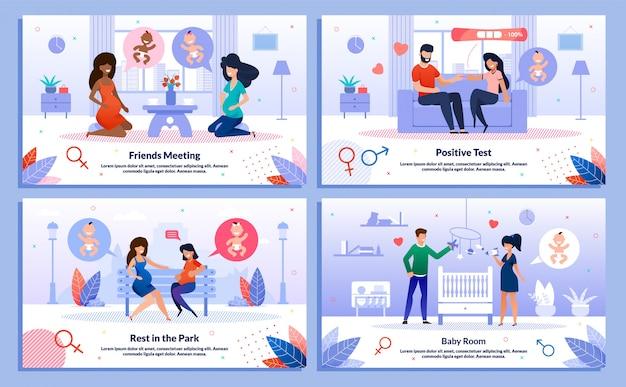 Happy relationships in gravidanza banner set