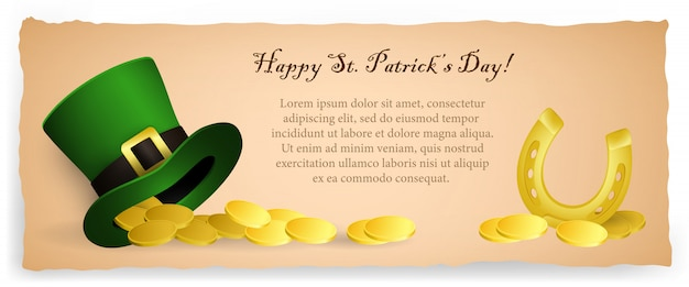 Happy saint patricks day banner design luminoso