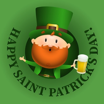 Happy saint patricks day lettering e leprechaun con birra
