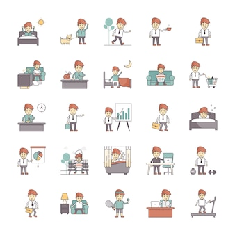 Happy salaryman daily life routine vector pack
