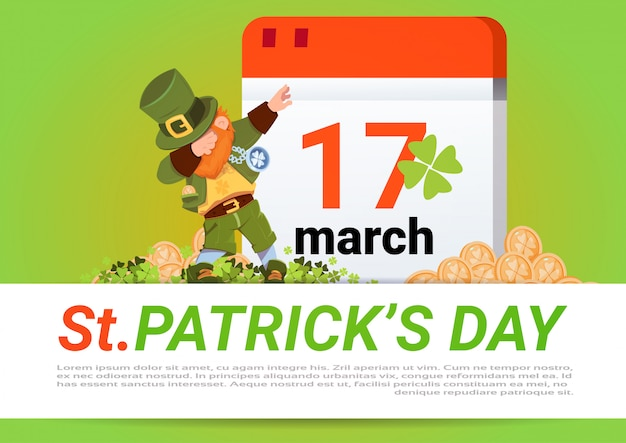 Happy st. patricks day leprechaun verde oltre il calendario con il 17 marzo