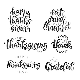 Happy thanksgiving day lettering quote set.