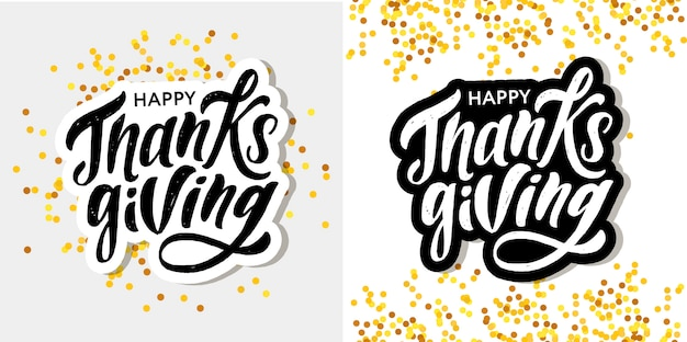 Happy thanksgiving lettering calligraphy brush text holiday sticker set oro