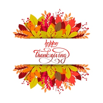 Happy thanksgiving lettering vettoriale