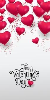 Happy valentine day lettering. iscrizione con un mucchio di palloncini