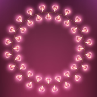 Happy valentines day garland lamp card.