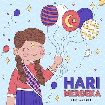 Hari merdeka con palloncini in possesso di persona