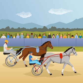 Harness racing illustrazione