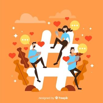 Hashtag di twitter. adolescenti sui social media. design del personaggio.