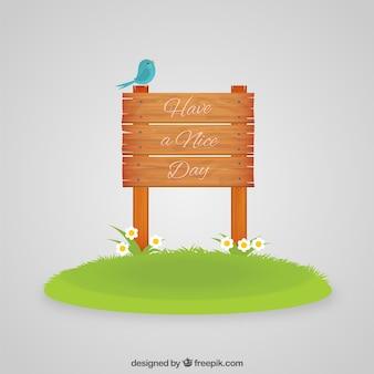 Have a nice day su un cartello di legno