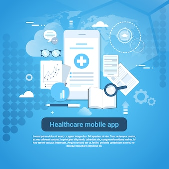 Healthcare mobile app template banner web con spazio di copia
