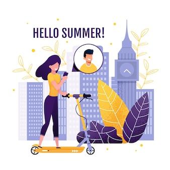 Hello summer greeting banner con design creativo