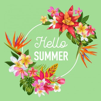 Hello summer tropic design flowers banner