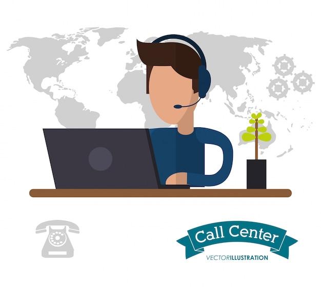 Helpline maschio del mondo dello scrittorio di funzionamento del centro di chiamata