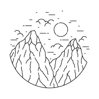Hike nature wild line graphic illustration art t-shirt design