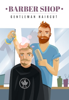 Hipster barbershop illustration