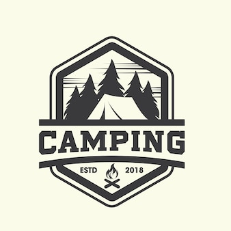 Hipster camping logo vector