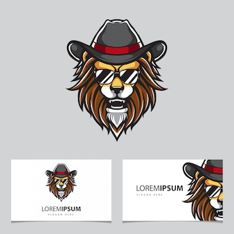 Hipster leone mascotte e biglietti da visita