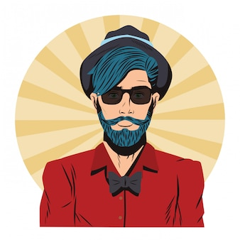 Hipster uomo pop art cartoon