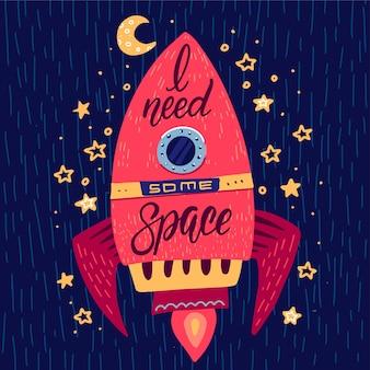Ho bisogno di alcuni slogan spaziali con scritte sul razzo nello spazio